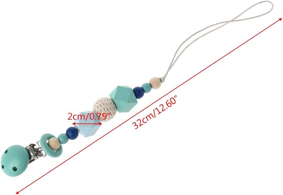 in silicone con perle in legno Catenella per ciuccio con clip FXCO
