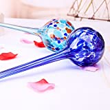 M-Aimee 2pcs Glass Ball Automatic Watering Globes Plants Flowers Irrigation Tool (Blue+Pink) ()