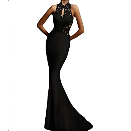 f1af2bf2656 Amazon.com  NEARTIME Womens Prom Dresses Long Lace High Neck Evening Gown  Sexy Mermaid Hollow Sleeveless Party Long Maxi Dress  Sports   Outdoors