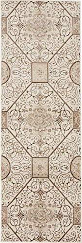 Modern Vintage Inspired Area Rugs Cream 2' x 6' FT Himalaya Collection Rug - rugs for living room - rugs for dining room & bedroom - Floor Carpet