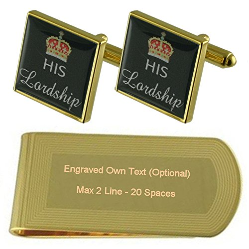 Cufflinks His tone Gold Gift Clip Engraved Lordship Set Money wpzpvtq