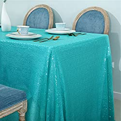 "Zdada Wedding/Home Decoration Sparkly Tablecloth Sequin Table Cover - Aqua Green 55""x108"""