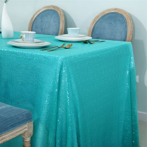 Zdada Tiffany Blue Glitter Tablecloth 60inch by 102inch Sequin Overlay Tablecloth Rectangle Tablecloth for Party ()
