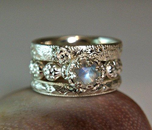 Genuine High Quality Rainbow Moonstone Sterling Silver Stacking Rings Custom Handmade Jewelry by Tazzies Custom Jewelry LLC