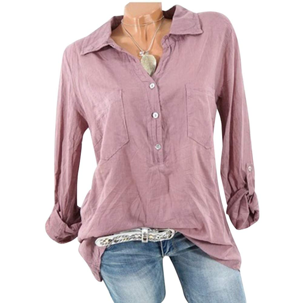 Women Casual T Shirt Clearance - vermers Women Fashion Solid Long Sleeve Tops Daily Loose Blouse with Pocket(3XL, Pink)