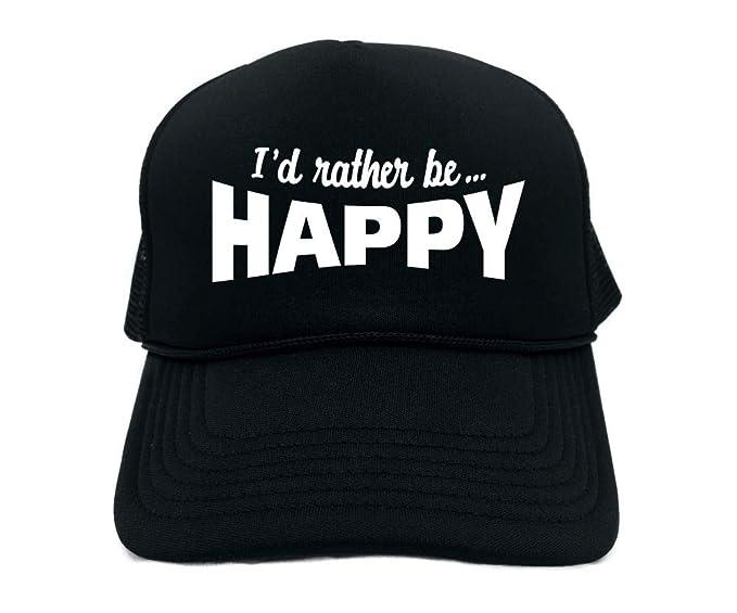 18db3e19 Amazon.com: Signature Depot Funny Trucker Hat (I'd Rather BE Happy (Cute)  Unisex Adult Foam Cap: Clothing