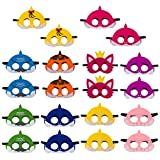 20Pcs Little Shark Mask Children's Birthday Party Family Party Cute Cartoon Soft Graduation Gift Boys Girls Parties Supplies Multicolor