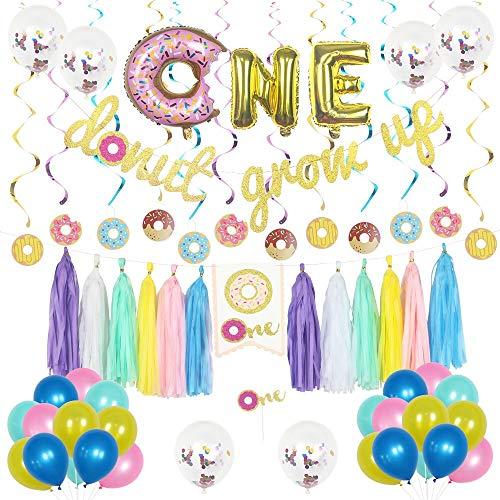 Donut First Birthday Decorations Kit 1st Birthday Party Supplies with Donut Grow Up Birthday Banner, Cake Topper, Confetti and Latex Balloons, Swirls, ONE Foil Balloon, Chair Garland and Tassel]()
