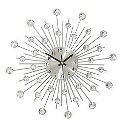 YJSMXYD Wall Clocks Handcrafted Beaded Crystal Jeweled Quartz Silent Sports Stylish Modern Design Living Room Bedroom Home Decor Office Hotel School Decor Best Gift