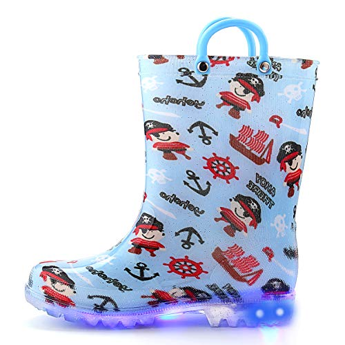 K KomForme Toddler Boy Girl Rain Boots with Light,Kids Shining Shoes with Memory Foam Insole and Easy-on Handles