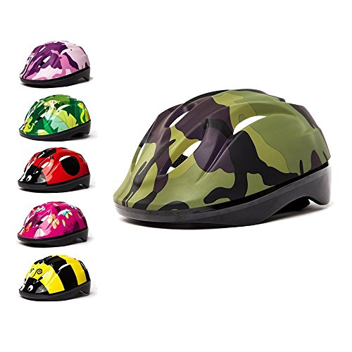 3StyleScooters - Kids Cycle Helmet in 6 Awesome Designs - for Cycling, Skating, Scooting - Adjustable Headband 49cm - 55cm - for Kids Aged 3-11 Years Old (Green Camouflage)