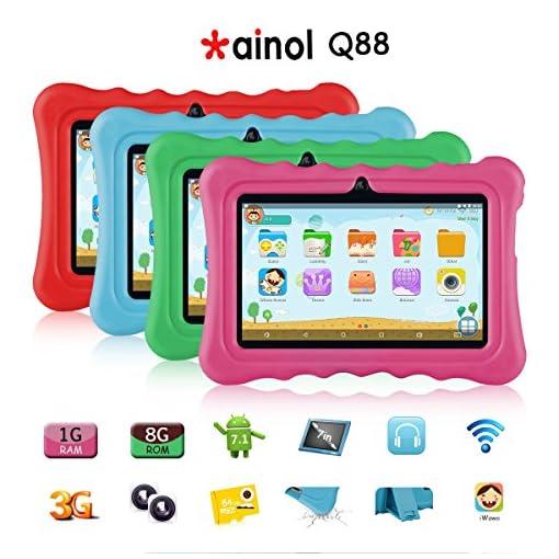 Tablet para niños con WiFi de 7 Pulgadas,Tablet Infantil de Android 7.1, Regalo para niños,Tablet portátil de Quad Core 1GB+8GB,Soporta Tarjeta TF 64GB,Doble cámara,Juegos educativos 3