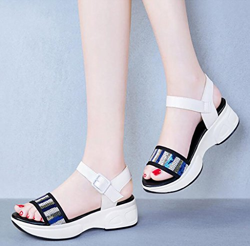 sandalias Moda Fafz 35 Sandalias Salvajes Tamaño Femenino Romanas A B color Zapatos De Verano Gruesos Coreanos Planas Simples Planas 77qrxwOn4F