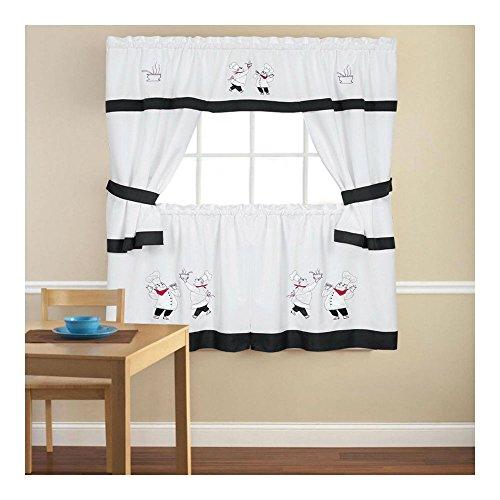5 Piece Cottage Kitchen Curtain - Embroidered Gourmet Chef 5 Piece Kitchen Curtain Cottage Set - 36