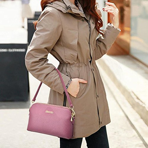 Sac à Multicolore Bag à Pink Mini Pu Bandoulière Bandoulière Zipper Tote Lady Femmes Main Sac Mode Satchel Cuir qPa4wBnxpX