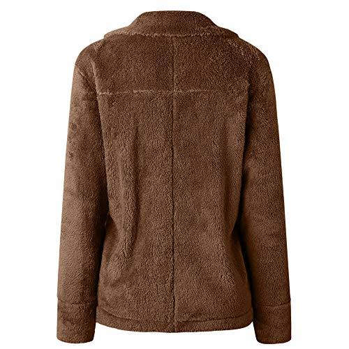 Open Front Coffee Winter Coat Long Sleeve Fleece XOWRTE Warm Pocket with Outerwear Jacket Women's wqOaCyxt