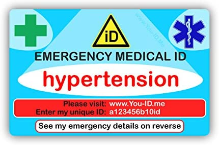 Tarjeta de identificación médica de emergencia para hipertensión ...