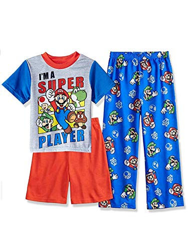 Super Mario Brothers Boy's 3 Piece Short Sleeve Shorts Pajamas Set (8, Blue/Red)]()