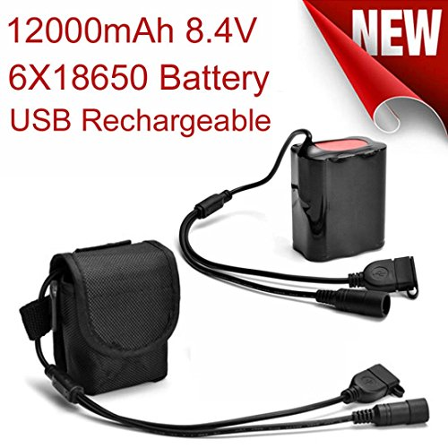 Creazy 8.4V USB Rechargeable 12000mAh 6X18650 Battery Pack For Bicycle light Bike Torch