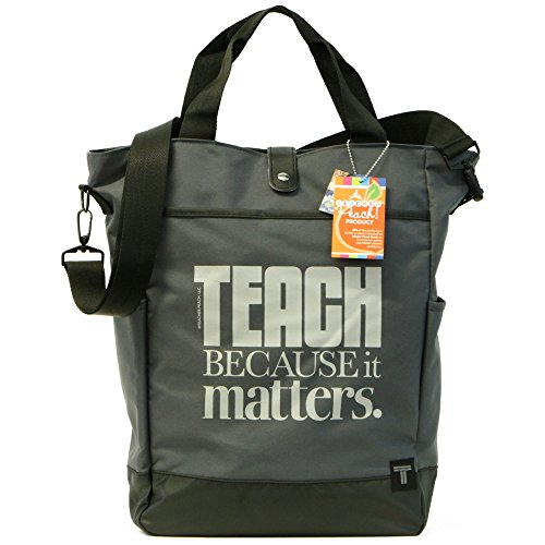 Teacher Peach Commuter Tote Bag - Convertible Cross Body Bag with Pockets, Organizers, Zippers, and Laptop Sleeve - Best as Teacher Appreciation or New School Teacher Gift - Graphite