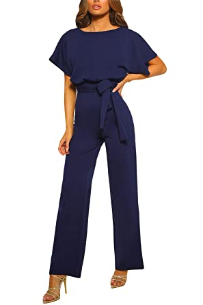 5768df7d44 KAKALOT Women s Elegant Short Sleeve Jumpsuit Loose Wide Leg Long Pants  Rompers with Belt Blue S