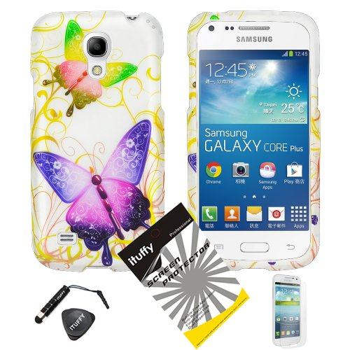 (4 items Combo: ITUFFY (TM) LCD Screen Protector Film + Mini Stylus Pen + Case Opener + Design Rubberized Snap on Hard Shell Cover Faceplate Skin Phone Case for Samsung Galaxy S4 Mini i9190 / i9192 / i9195 / i9198 (Green & Purple Butterfly) )