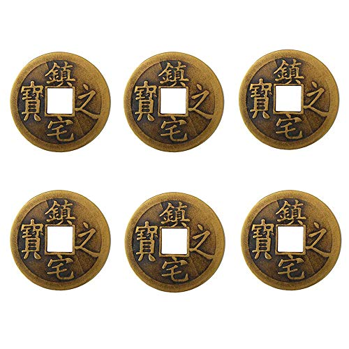 6pcs 1.5 Inch Chinese Fortune Coins Feng Shui I-Ching Coins Chinese Good Luck Coins + Gift Bag (Zhenzhai Zhibao,Yellow)