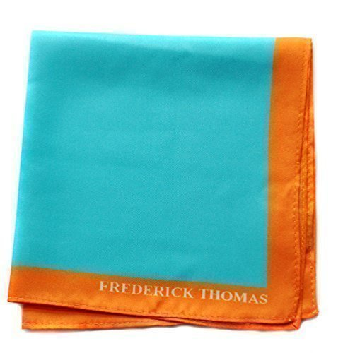 Frederick Thomas turquoise pocket square with orange edging