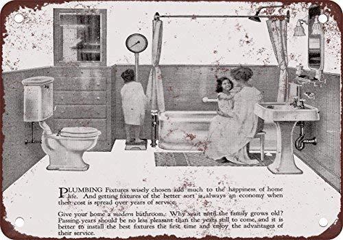 STY 1920 moderno cuarto de baño accesorios, diseño clásico de reproducció tin Sign 20 30cm/ 7.8 11.8 inch(L W)