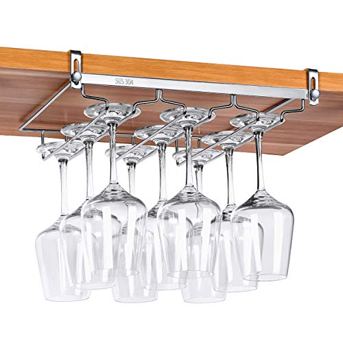(VOBAGA Stemware Racks 3 Rows Adjustable Stainless Steel Wine Glass Rack Stemware Hanger Bar Home Cup Glass Holder Dinnerware Kitchen Dining,Hold 9 Glasses)