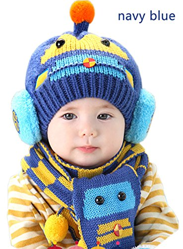 Baby Boys Girls Cute Car Scarf Hood Scarves Earflap Hat Cap Toddler Autumn Winter Warm Knitted Beanie Hats (navy (Gorros Crochet Halloween)