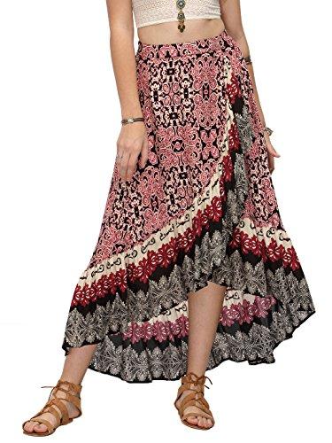 Milumia Women's Bohemian Floral Print Wrap Skirt Summer Long Maxi Skirt Red S (Print Reversible Skirt)