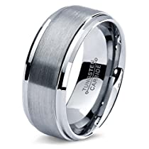 Tungsten Wedding Band Ring 8mm for Men Women Comfort Fit Beveled Edge Polished LifetimeGuarantee