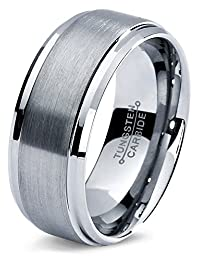 Tungsten Wedding Band Ring 8mm For Men Women Comfort Fit Beveled Edge  Polished