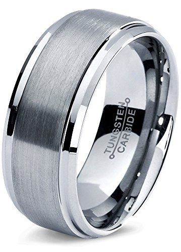 0b8d1428655d Tungsten Wedding Band Ring 8mm for Men Women Comfort Fit Beveled Edge  Polished Lifetime Guarantee Size