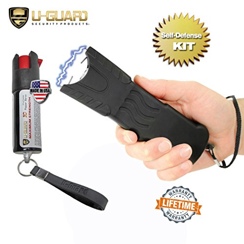 Police Stun Gun Heavy Duty Taser Flashlight Combo Pepper Spray Keychain Defense Kit. (1) High Volt Rechargeable Tazer(1) 18% 1/2oz OC Pepper Spray CS Tear Gas & UV Dye Military Formula Made In USA. - Spray Combo