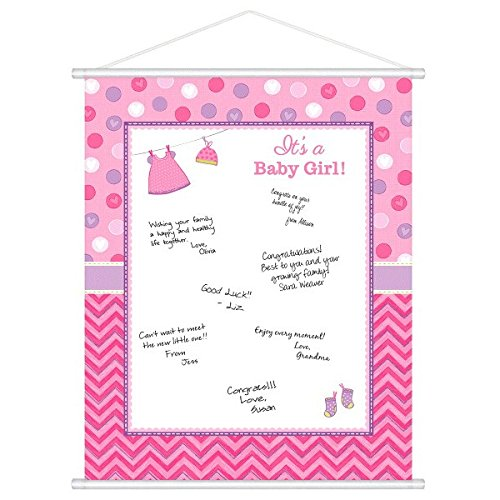 Amscan 271489 Shower with Love Girl Sign-in Sheet, 1 Piece,