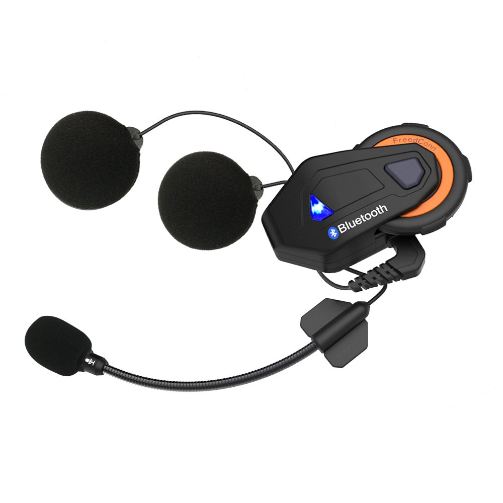 Motorcycle Communication System for 6 Riders Group Intercom,FreedConn T-max Helmet Bluetooth Headset for Motorbike Skiing (Range 1500m,Waterproof,FM Radio,Voice Prompt,1 Unit)