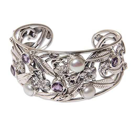 NOVICA Amethyst White Cultured Freshwater Pearl Sterling Silver Bracelet, 5.5'' 'Temple Garden' by NOVICA