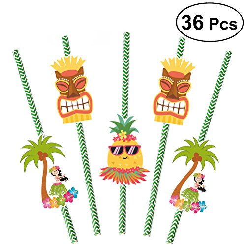 OULII 36Pcs Paper Drinking Straws Lula Tropical Hawaiian Party Decorations (Hibiscus Flower Straws)