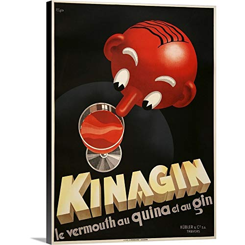 Kinagin - Vintage Wine Advertisement Canvas Wall Art Print, 30