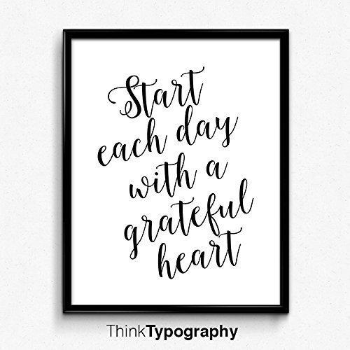 Start each day with a grateful heart, Motivational Wall Decor, Quote, Black (Scandinavian Hearts)