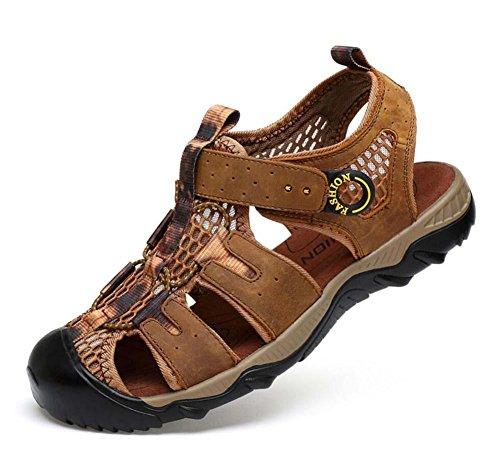 Onfly Hombres Chicos Dedo del pie cerrado Cuero Casual Sandalias Zapatillas Antideslizante Respirable Para caminar Al aire libre Sandalias Zapatos de agua Zapatillas de deporte ocasionales Playa Zapat light brown