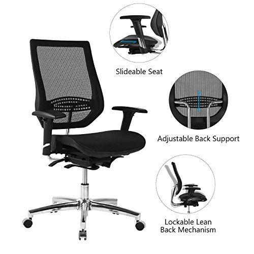 51i1B6uwbfL - LCH-Mesh-Office-Chair-Adjustable-Seat-Slider-Reclining-back-tilt-angle-Lock-System-and-4-D-Arms-Ergonomic-Mid-back-Computer-Task-Desk-Executive-Chair-with-Lumbar-Support