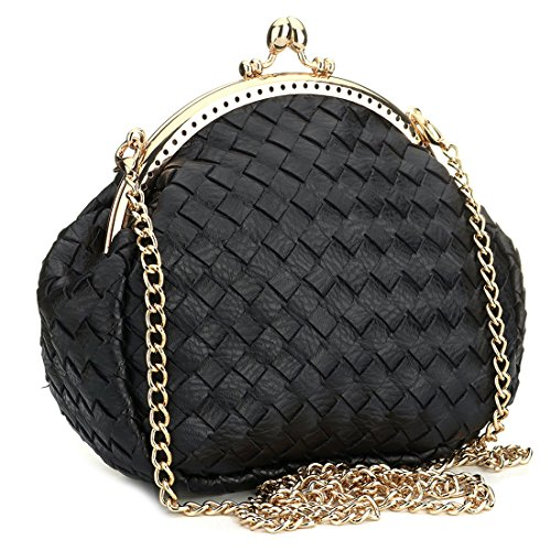 with Messenger Handbag Purse Chain Leather Removable Black Bag for Woven Shoulder Women Clutch Bags YvwHqU0