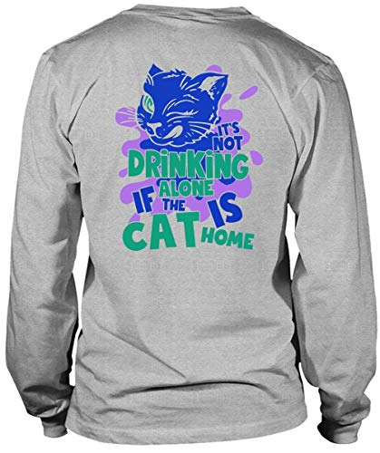 It's Not Drinking Alone Long Sleeve Tees, I Love Cats T Shirt-LongTee (XXL, Sport Grey) -