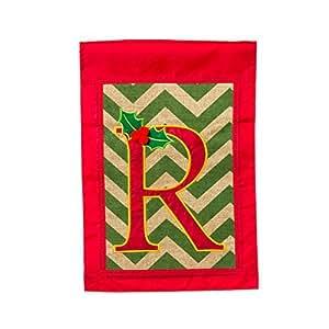 """Gifted Living 14B3077R Holy Monogram """"Letter R"""" Garden Flag"""