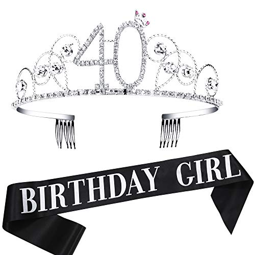 40th Birthday Tiara Crown (BABEYOND 40th Birthday Tiara and Sash Crystal Happy Birthday Crown and Satin 40 & Fabulous Sash 40th Birthday Party Supplies Rhinestone 40th Princess Crown and Glitter)
