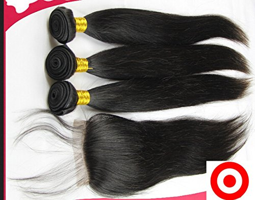 Cheap 7A Free Part Lace Closure With Bundles Straight Peruvian Virgin Hair Bundle Deals 3Bundles And Closure Natural Color 16''closure+28''28''28''weft by DaJun