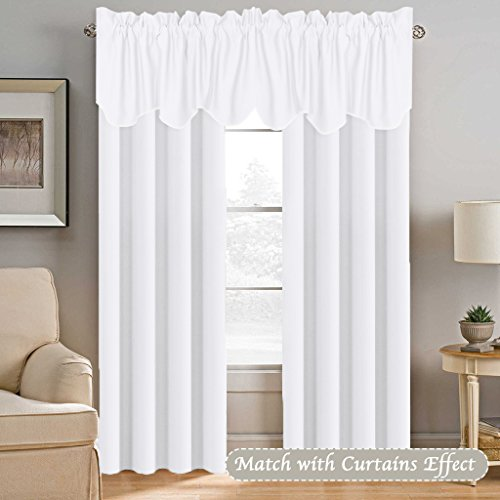H.VERSAILTEX Privacy Protection Kitchen Valances for Windows Room Darkening Curtain Valances for Bedroom, Rod Pocket Top, 4 Pack, Pure White, 52 x 18 Inch by H.VERSAILTEX (Image #2)'